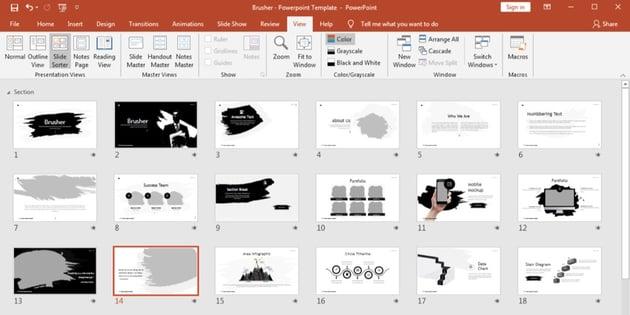 PowerPoint slide sorter selection