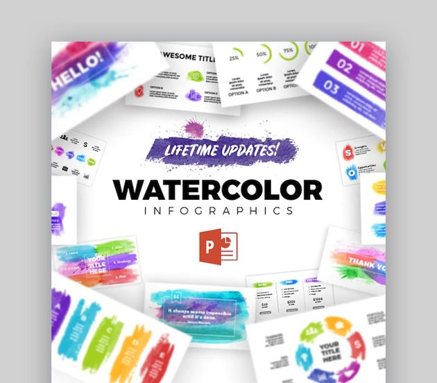 Watercolor Infographics PowerPoint Template