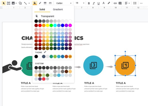 Match color infographic template in Google Docs