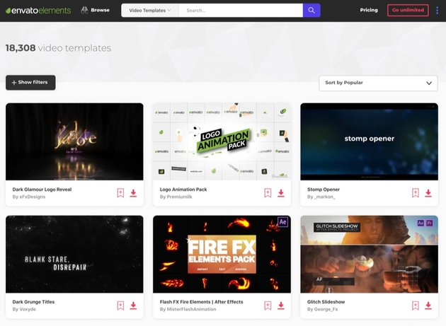 Envato Elements video template
