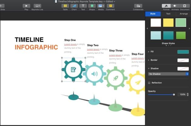 Keynote timeline template customizations
