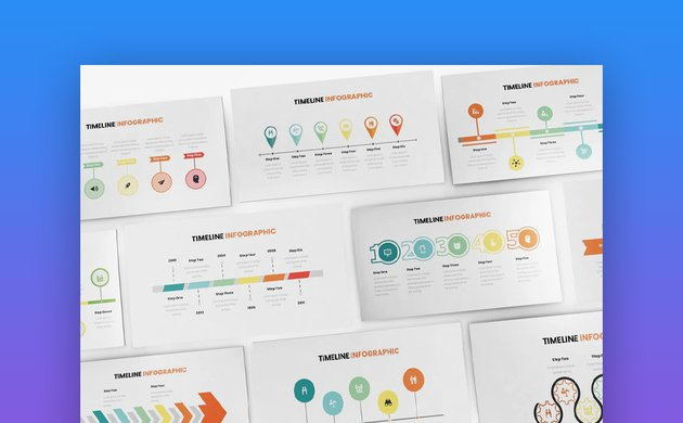 Timeline infographic in Keynote template design