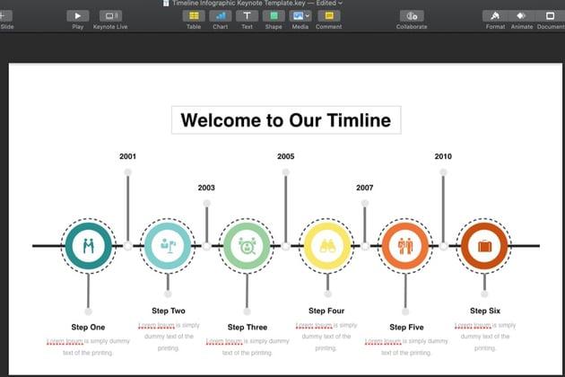 Update Keynote Timeline text