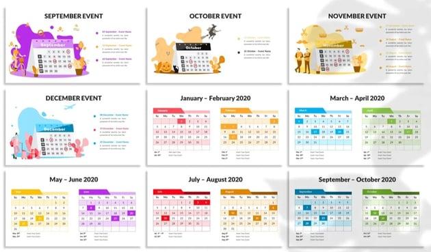 PowerPoint calendar template 2020