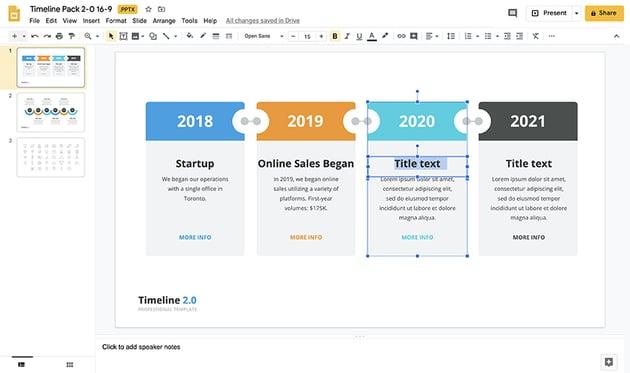 Timeline template Google Slides step 2