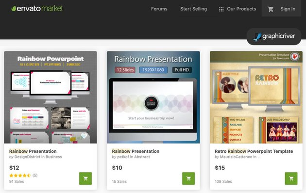 GraphicRiver rainbow PowerPoint background templates