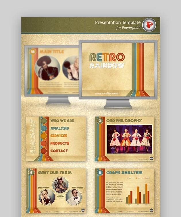 retro rainbow PowerPoint template