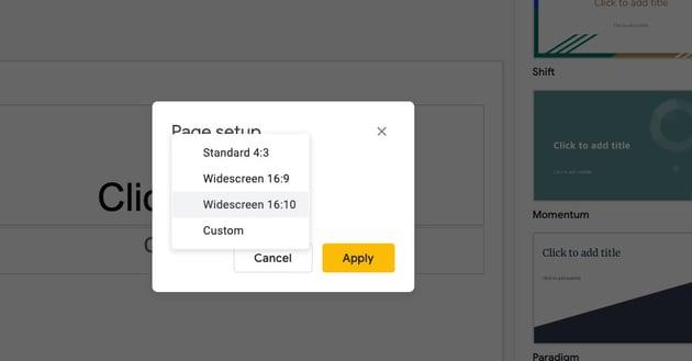 Google Slides format