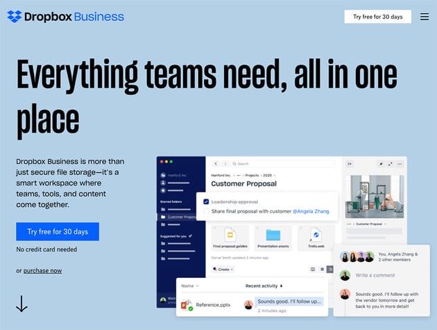 Dropbox business homepage