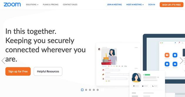 Zoom app homepage