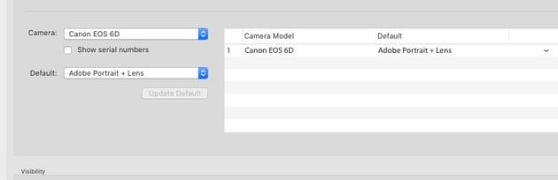 Added camera specific profile