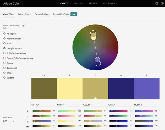 Color palette presentation