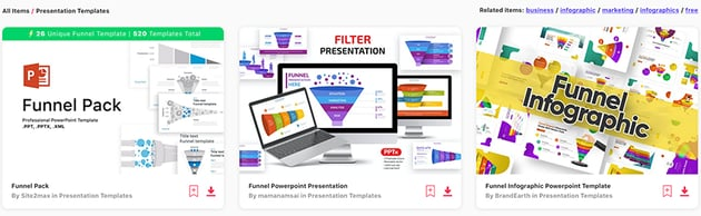 Elements funnel graphic PowerPoint
