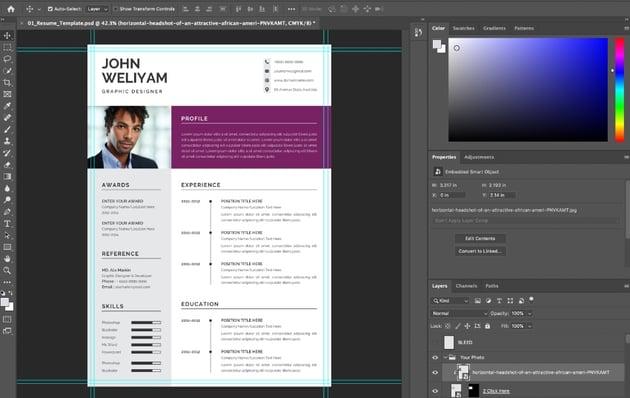 Photo modern CV template