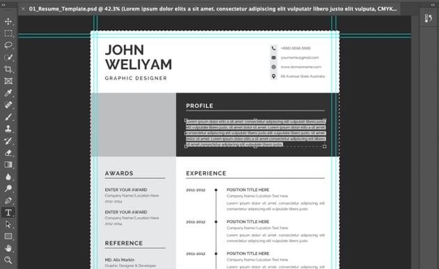 Text modern CV template