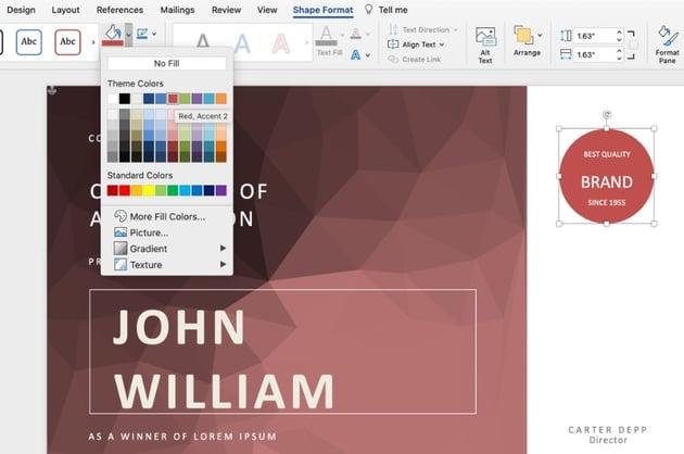 Color editable certificate template Word