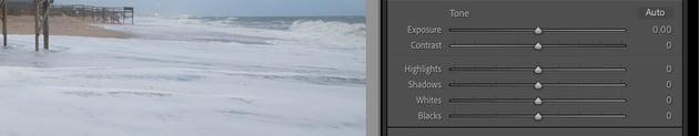 Exposure slider adjustments