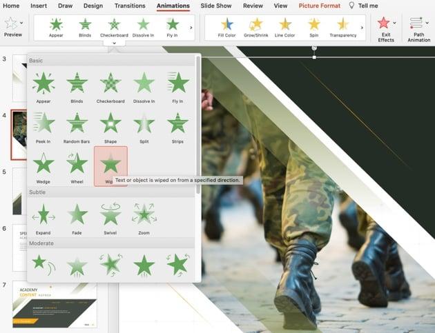 Animated military presentation