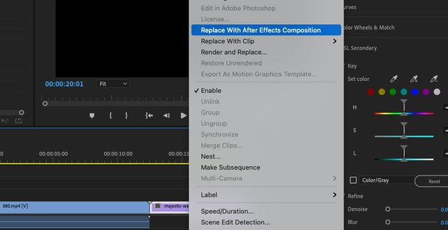 Replace with After Effects composition