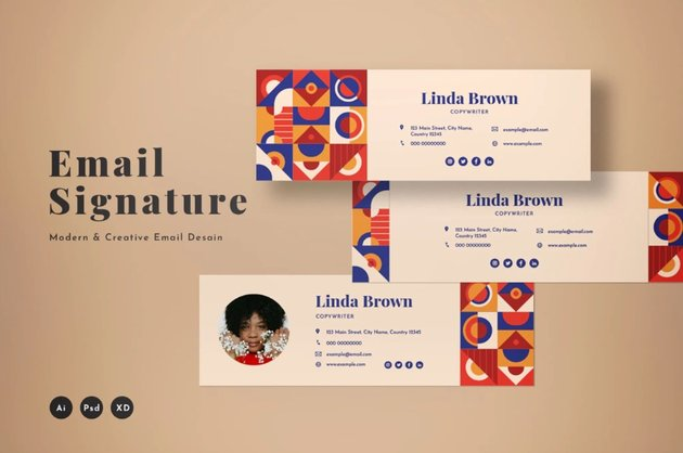 Abstract email signature design inspiration