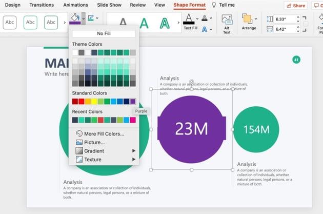 Color professional presentation