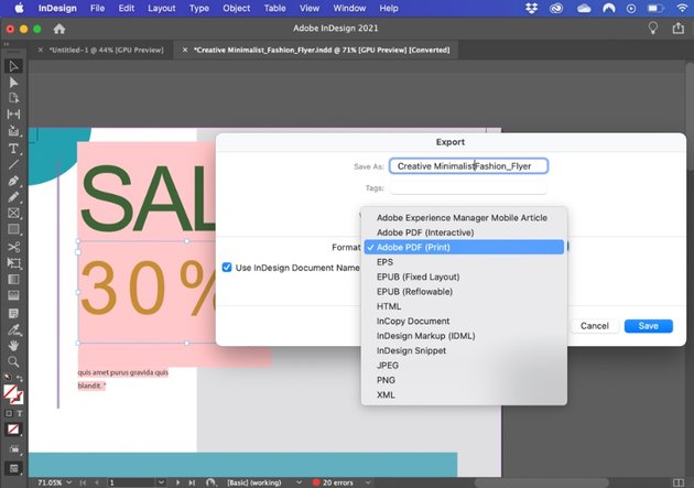How to convert InDesign file to Word document
