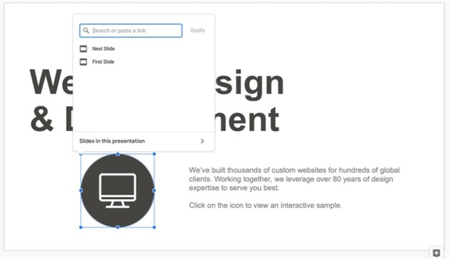 How to make interactive Google Slides button
