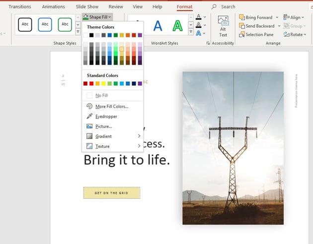Changed shape fill color motivational slide