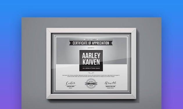 Gradient word certificate template