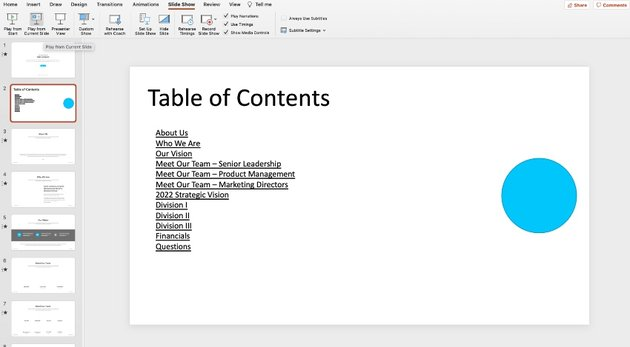 How to add table of contents in PowerPoint