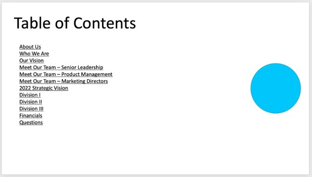 PowerPoint contents page