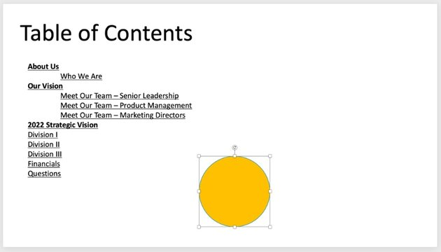 Rearrange table of contents PowerPoint
