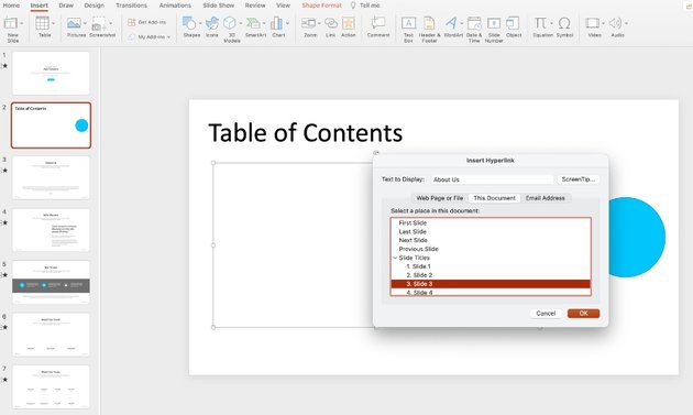 Table of contents in PPT