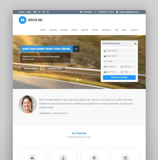 Driveme - Driving School WordPress Theme