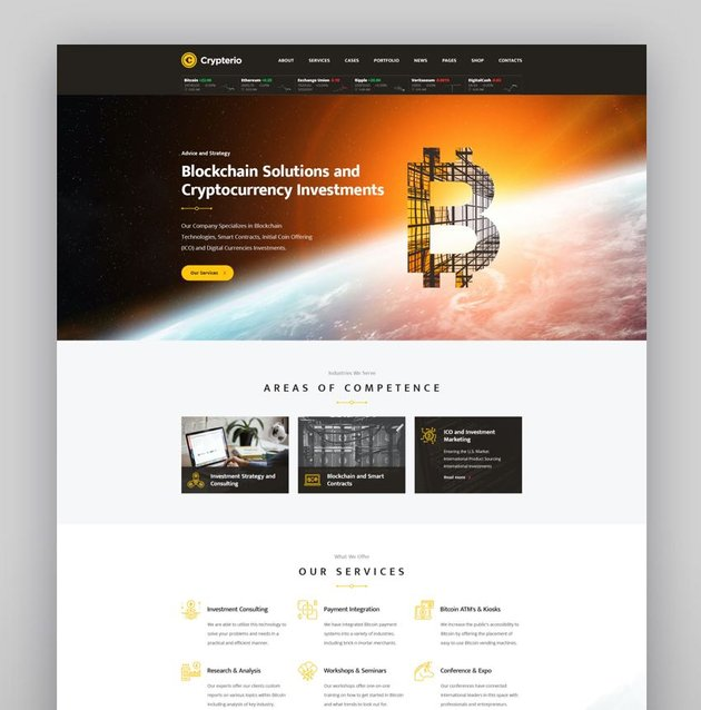 Crypterio - ICO Landing Page and Cryptocurrency WordPress Theme