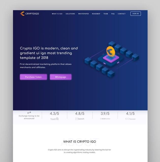 Cryptoigo Tema de WordPress para Bitcoin y criptomonedas con el constructor Elementor