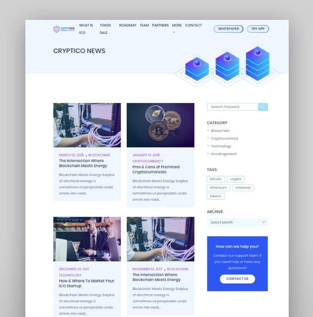 Cryptico - ICO Crypto Landing  Cryptocurrency WordPress Theme