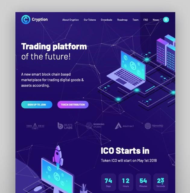 Cryption - ICO Landing ICO Consulting Cryptocurrency  Blockchain WordPress Theme