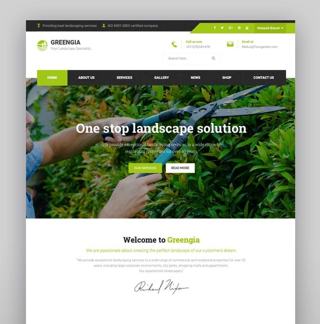 Greengia - Gardening Lawn and Landscaping WordPress Theme