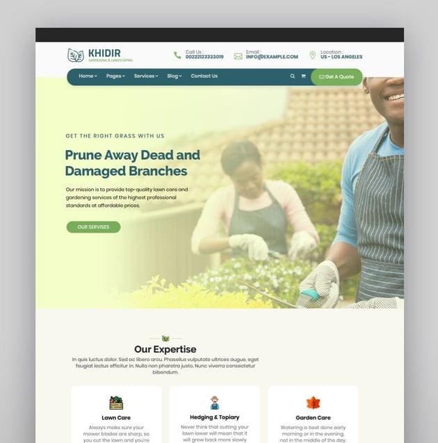 Khidir - Gardening  Landscaping WordPress Theme