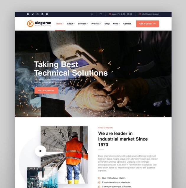Kingstrox - Factory and Industrial Business WordPress Theme
