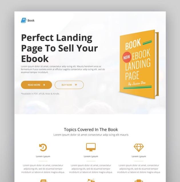 Book - Responsive Ebook Landing Page WordPress Theme