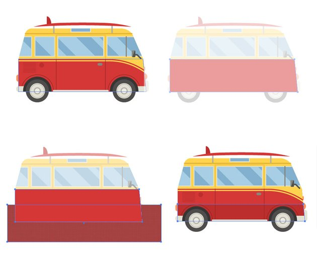Adding the shadow to the red van shape