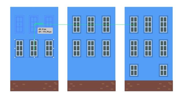 Spreading the windows over facade