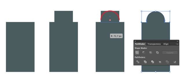 Building grey rectangle and top rounded part