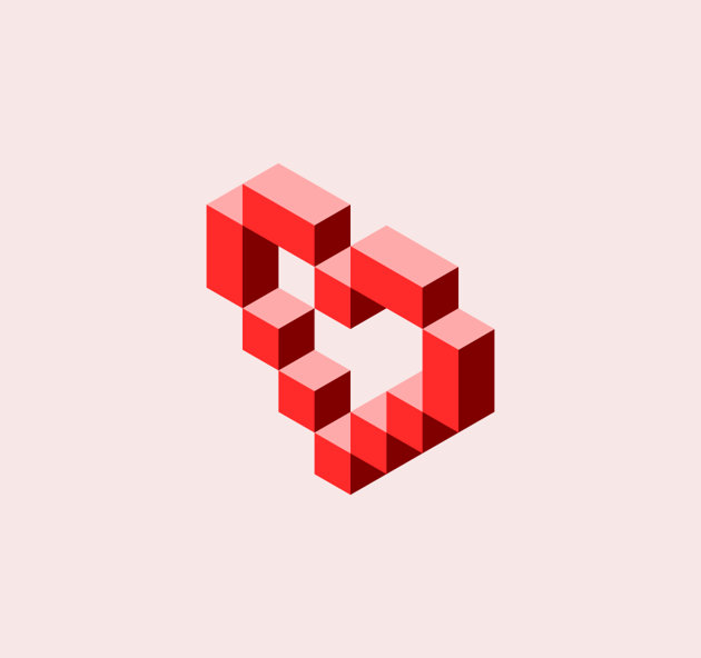Completed pixel heart design with Inkscape