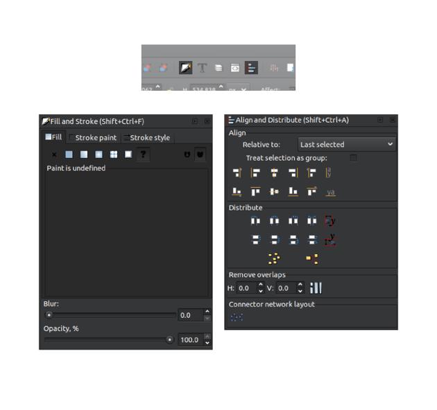 Inkscape opened panels