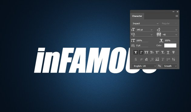 Typing inFAMOUS and choosing the Character Panel settings
