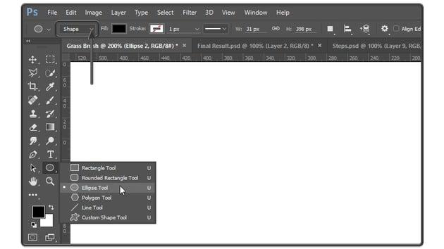 Ellipse tool settings