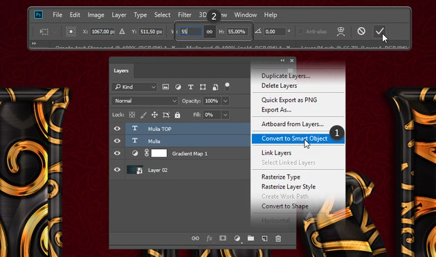 Converting the layers to smart object